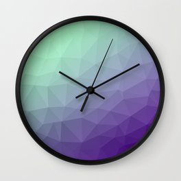 Purple green ombre gradient geometric mesh Wall Clock
