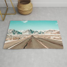 Vintage Desert Road // Winter Storm Red Rock Canyon Las Vegas Nature Scenery View Rug