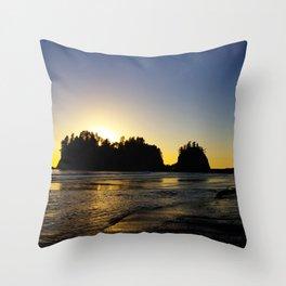 sun setting behind james island, washington, usa  Throw Pillow