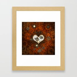 Steampunk, wonderful heart Framed Art Print
