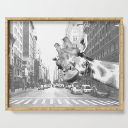 Black and White Selfie Giraffe in NYC Serving Tray