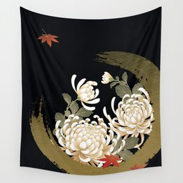 White Peonies Red Maple Leaves Japanese Kimono Pattern Wall Tapestry