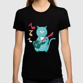 Funny Cat Playing Bass Guitar T-shirt
