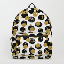 Golden and Black Dots Pattern Backpack