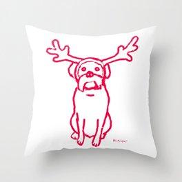 Scamp The Reindeer Dog Throw Pillow