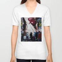 john snow V-neck T-shirts featuring SNOW WHITE by John McGlynn