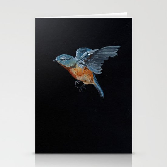 Northern Blue Bird in Flight Stationery Cards
