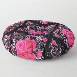 FUCHSIA PINK ROSE BLACK BROCADE GARDEN ART Floor Pillow
