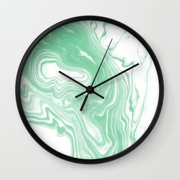 Shinzi - spilled ink japanese marble paper ocean watercolor swirl marbling marbled pattern Wall Clock