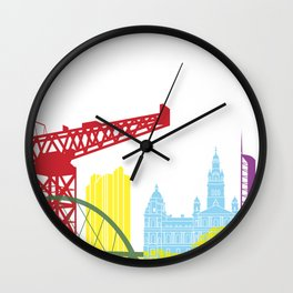 Glasgow skyline pop Wall Clock