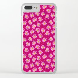 Summer Flower Pattern in Fuchsia and Pink Clear iPhone Case