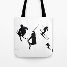 Skiing silhouettes Tote Bag