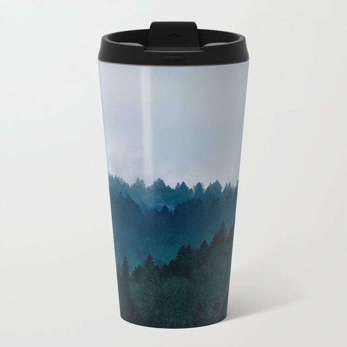Misty Dark Blue Green Forest Metal Travel Mug