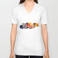 takmaj V-neck T-shirts featuring umbrellas by takmaj