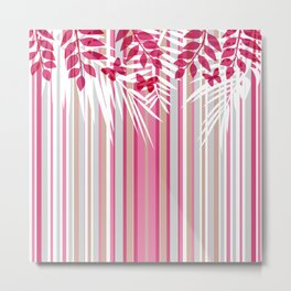 Red butterflies and pink striped leaves on a white background . Metal Print