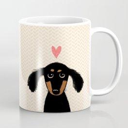 Dachshund Love | Cute Longhaired Black and Tan Wiener Dog Coffee Mug