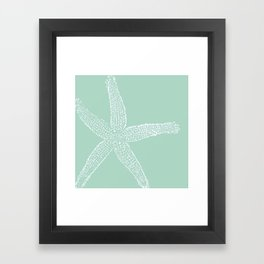 Starfish- white on sage Framed Art Print