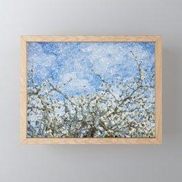Soft spring white flowers against blue sky Framed Mini Art Print