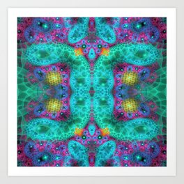 Coulorful transparent patterns, fractal abstract Art Print