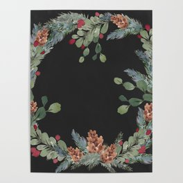 Wreath with Pine + Berries Poster