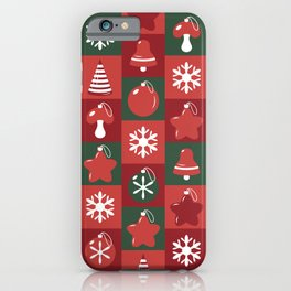 Festive pattern with Christmas ornaments iPhone Case