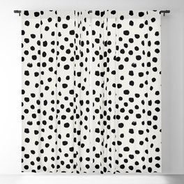 Preppy brushstroke free polka dots black and white spots dots dalmation animal spots design minimal Blackout Curtain