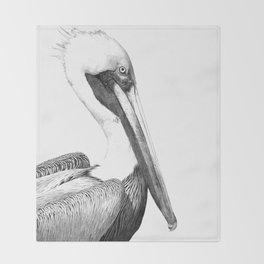Black and White Pelican Throw Blanket