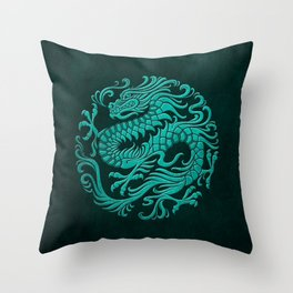 Traditional Teal Blue Chinese Dragon Circle Throw Pillow