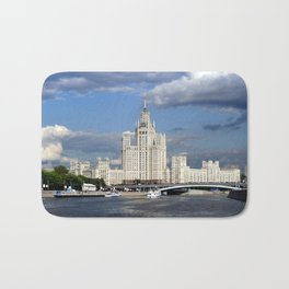 Moscow skyscraper, view from Moscow-river, sunny summer day Bath Mat