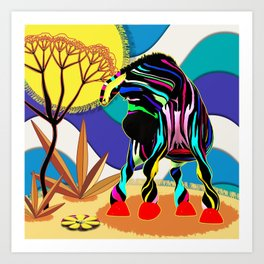 Zapped Zebra Zing spots a Flower Art Print