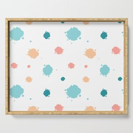 cute pattern background illustration with ink blots Serving Tray