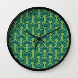 Green Village Pattern Wall Clock