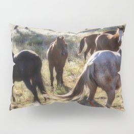 Wild Mustangs in a Group Pillow Sham