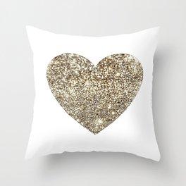 Gold Heart-65 Throw Pillow