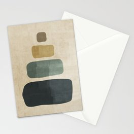 Minimalist Blue and Beige Rustic Brushstrokes #1 Stationery Cards