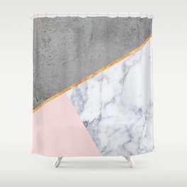 Marble Blush Gold gray Geometric Shower Curtain