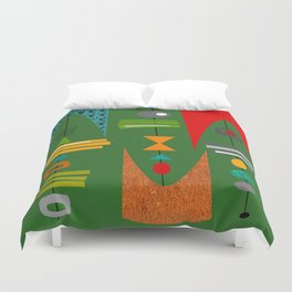 Mid-Century Modern Green Tiki Tok Duvet Cover