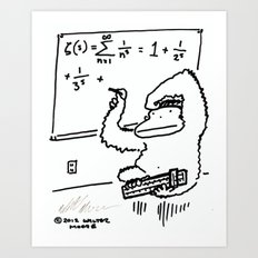 Ape with Slide Rule Solves Equation Art Print