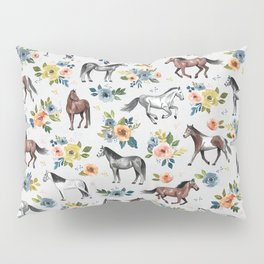 Horses and Flowers Pattern, Floral Horses, Hand-Painted, Horse Love, Watercolor, For Girls Pillow Sham