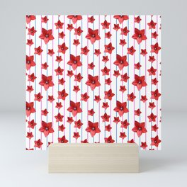 Flowers and Color Lines - Red Mini Art Print