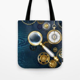 Steampunk blue background with magnifier Tote Bag