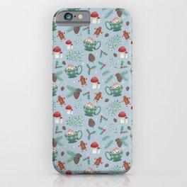 Cottagecore Christmas Blue iPhone Case