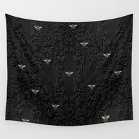bees Wall Tapestries featuring Black Bees by mentalembellisher