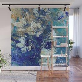 My Great Devastator II blue | flower girl graffiti painting Wall Mural