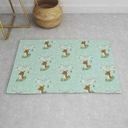 Vintage Inspired Deer with Decorations Rug