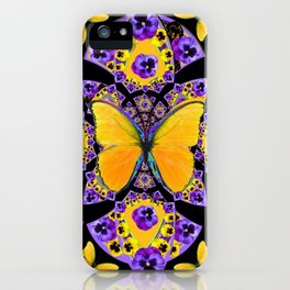 GOLDEN BUTTERFLIES PURPLE PANSIES BLACK DESIGN iPhone Case