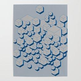 3D Futuristic Cubes III Poster