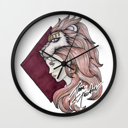 Leo - Female Ilustration - Star Sign Wall Clock