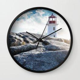 Peggy's Cove lighthead in halifax Wall Clock