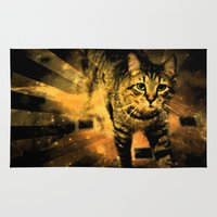 daredevil Area & Throw Rugs featuring Cat Fire Of The Crossing Oblivion by Distortion Art